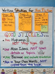 Writing Sticky Notes for Non Fiction Texts - 3rd grade Lucy Calkins Non Fiction Unit Chart fiction text, teach rescourc, anchor charts, school idea