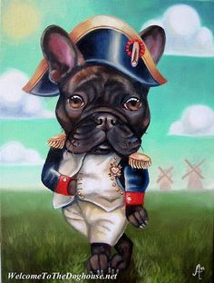 Napoleon was a Bouledogue Francais (French Bulldog). French Bulldog Art, French Bulldogs, Tableau Pop Art, Tattoo Foto, Dog Cafe, Animal Projects, Dog Paintings, Labrador, Dog Pictures