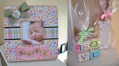 homemade baby frame and love blocks craft idea