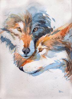 Illustratrice - Dessinatrice BD - Auteure - Coloriste BD Marine Tumelaire: Loup - Wolf Animal Sketches, Animal Drawings, Art Sketches, Art And Illustration, Watercolor Animals, Watercolor Paintings, Bd Art, Wolf Artwork, Colored Pencil Artwork
