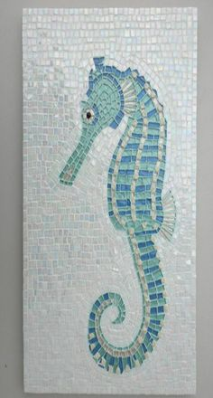 Seahorse mosaic - Would be stunning for a beach house shower wall. Mosaic Art, Mosaic Glass, Mosaic Tiles, Stained Glass, Blue Mosaic, Mosaic Mirrors, Mosaic Bathroom, Bathroom Wall, Wall Tile