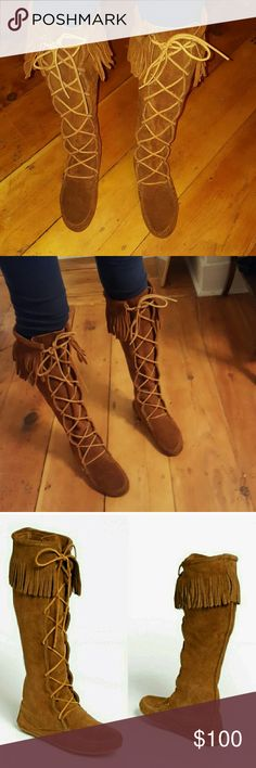 MINNETONKA | Knee high lace up boots ** model is a size 6 and there is still room in the shoe **  Laces adjust to your calf size  Excellent condition Reasonable offers considered Minnetonka Shoes Lace Up Boots