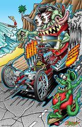 Hot Rod race against Rat Fink on a skateboard, first one to the beach wins! Cartoon Rat, Cartoon Pics, Cartoon Drawings, Rat Fink, Ed Roth Art, Cool Car Drawings, Garage Art, Lowbrow Art, Ad Art