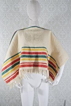 Vintage 1960s Wool + Fringe Blanket Poncho