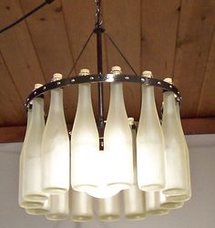 Jr 15 Wine Bottle Chandelier  15 Split Frosted Hock by hmsc93, $350.00