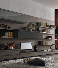 Tao Day by Misura Emme Living Room Tv, Living Room Interior, Home Interior Design, Interior Architecture, Living Spaces, Shelving Systems, Storage Shelving, Shelves, Corner Tv Unit