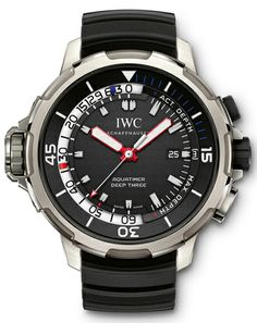 Ever wondered at what maximum depth you've already been? Not anymore. The new IWC Aquatimer Deep-3 with in-house caliber, indicates your depth record. (And also your current diving...)