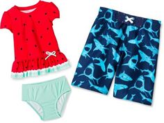 Select from a variety of swimwear sunglasses and hat styles for your child!  Baby Toddler & Kids Swimwear only $30.00