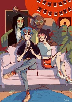art by kushexi Vocaloid, Gorillaz Fan Art, Fanart, Music Stuff, Rock Art, Cool Bands, Cartoon Characters, Art Inspo, Anime Art