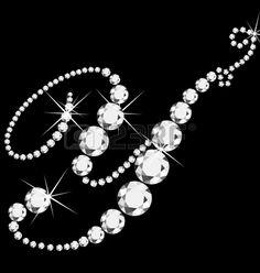 Y italic letter with diamonds Stock Vector