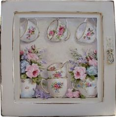 Original Painting on a rescued cupboard door - Tea Cups and Blooms - Postage is included Australia wide