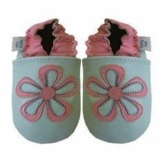 Dotty Fish - Chaussures de bébé en cuir souple Motif de fleur blue claire Dotty Fish.