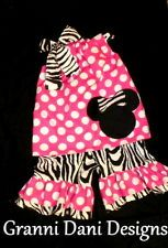 Minnie mickey mouse outfit set birthday polka dot baby toddler girl pink zebra