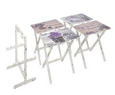Set de 4 mesas bandeja de madera de abedul