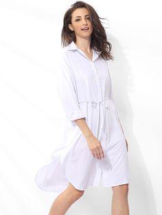 #Fashionmia - #Fashionmia Polo Collar Cotton Plain Shift-dress - AdoreWe.com