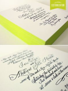 Client Customization – Calligraphy with a burst of color! love the edging