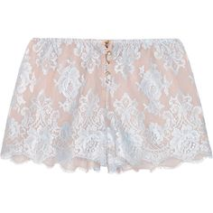 Rosamosario Sweet Sumatra lace and silk-chiffon pajama shorts (£245) ❤ liked on Polyvore featuring intimates, sleepwear, pajamas, shorts, lace pajamas, rosamosario and lace sleepwear