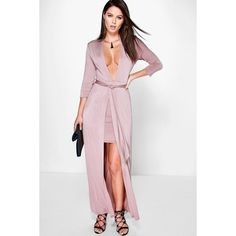 Boohoo Night Denise Double Layer Tie Front Maxi Dress featuring polyvore, women's fashion, clothing, dresses, rose, white dresses, white party dresses, maxi dress, maxi party dresses and white maxi dress