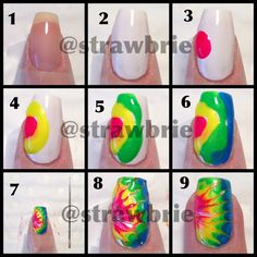 Tie dye one marble effect using needle dragged through wet polish.
