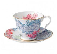 Tasse à Thé avec soucoupe bleu et rose Butterfly Bloom