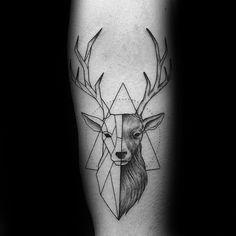 60 geometrische Tier Tattoo Designs für Männer - Cool Ink Ideas - Pin To Pin Trendy Tattoos, Small Tattoos, Tattoos For Guys, Cool Tattoos, Tiny Tattoo, Original Tattoos, Geometric Tattos, Geometric Designs, Geometric Shapes