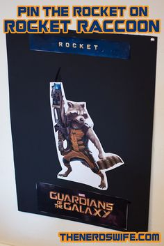 Guardians of the Galaxy Party Ideas Pin the Rocket on Rocket Raccoon game for a Guardians of the Galaxy Party! Holiday Party Themes, Theme Parties, Superhero Birthday Party, Birthday Ideas, Birthday Cake, Summer Camp Themes, Galaxy Cake, Creative Party Ideas, Rocket Raccoon