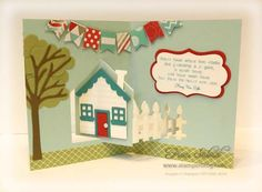 stampersblog: Welcome Home Card stock - Soft Sky, Bermuda Bay, Real Red, Whisper White, Fresh Print DSP, Soft Suede, Pear Pizzazz Etc - House Pivot Pop It Ups, Katie Label, Tree for All Seasons, Flag punch, Candy Dots #PopItUps