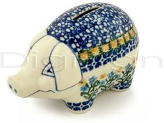 Polish pottery piggy bank
