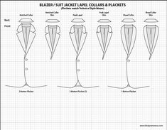 Mens Illustrator Flat Fashion Sketch Templates - Suit Jacket lapel collars…