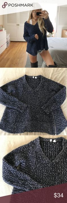 """Anthropologie Moth Woolblend V Neck Sweater This sweater is gently worn and in great condition. Features a v neckline. Dark blue and light grey marbled pattern. Adjustable zipper on left bottom side. 22"""" Shoulder to hem. Super cozy and perfect for winter! Offers welcome!!  ❤️❤️ Anthropologie Sweaters V-Necks"""