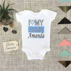 Personalized Name I Love My Auntie Cute Chevron Heart Funny