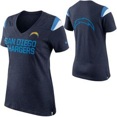 San Diego Chargers Nike Women's Fan Top V-Neck T-Shirt - Navy Blue - $44.99