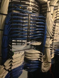 Cisco switches running into patch panels. They did a beautiful job with the rack mounting!