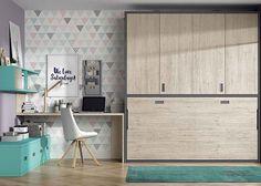 Habitación juvenil con cama abatible horizontal con armario superior .Elmenut