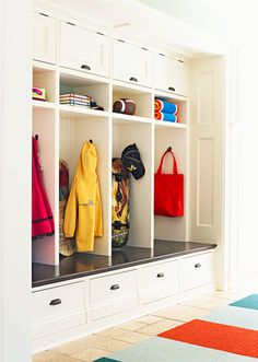 Getting Organized :: Mudrooms. Custom cabinetry, open shelving, drawers, and hooks.