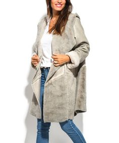 Beige Faux Fur-Trim Hooded Open Coat - Plus Too #zulily #zulilyfinds