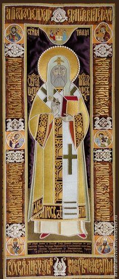 Купить Праздничный Лицевой Покров Святителя Тихона - вышитая икона, золотное шитьё, вышивка