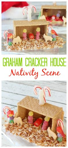 Make a nativity instead of the traditional graham cracker house! Complete with a gum drop baby Jesus and animal cracker animals. A fun activity to make with the kids this year while talking about the Christmas story. Christmas Jesus, A Christmas Story, Christmas Treats, Christmas Holidays, Christmas Nativity, Christmas Crackers, Christmas Movies, Celebrating Christmas, Hallmark Christmas