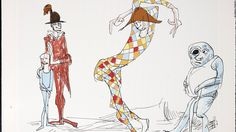 """Clowns"" by Ralph Steadman, 1988. A retrospective of 50 years of the legendary illustrator's cartoons is showing at Lazarides gallery, London."