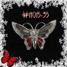 red and black Rhinestone Crystal Alloy Charm  Butterfly Pin & Brooch #11015-35 #handmade #cHANDaMADE #fashionJewelry #fashion #jewelry #butterfly #brooch