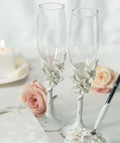 Help your guests give illustrious toasts with this sculptural white tiger lilies toasting set! Each toasting glass comes atop a polystone sculpture of white tiger lily flowers. A perfect choice for any. Wedding Toasting Glasses, Wedding Champagne Flutes, Toasting Flutes, Champagne Glasses, Bridal Glasses, Classic Wedding Themes, Wedding Ideas, Wedding Stuff, Wedding Things