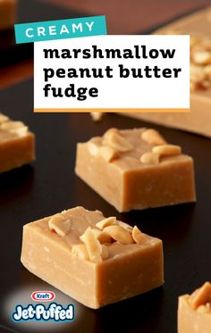 Creamy Marshmallow-Peanut Butter Fudge – With delicious peanut butter flavor and a soft texture, this fudge recip is sure to become a dessert favorite. Plus, you can wrap up these sweet treats for a thoughtful gift any time of year. Fudge Recipes, Candy Recipes, Sweet Recipes, Holiday Recipes, Cookie Recipes, Peanut Recipes, Holiday Foods, Soup Recipes, Dinner Recipes