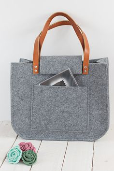 Grey felt tote bag, big, big size, for shopping, spring bag, genuine leather handles, tote bag, tote felt by feltallovercom on Etsy