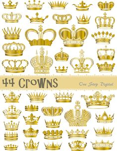 Instant Download Digital Golden Crowns and by OneStopDigital, $4.25