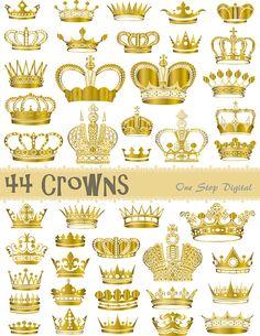 Instant Download Digital Golden Crowns and by OneStopDigital, $4.25