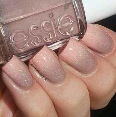 Nude sparkly essie nails. I love this because its nuetral with a little sparkle! Squate tips acrylics, gel nail.