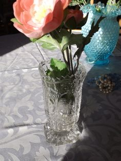 Crystal vase with bird. Vintage . Table by HuntWithJoy on Etsy,