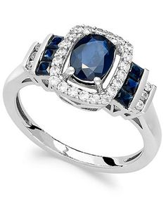 14k White Gold Ring, Sapphire (1-3/8 ct. t.w.) and Diamond (1/5 ct. t.w.) Ring