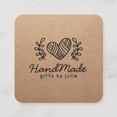Minimalist Business Cards, Modern Business Cards, Craft Business, Handmade Shop, Handmade Crafts, Calling Card Design, Paper Bag Design, Square Business Cards, Craft Logo