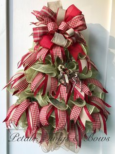 Christmas tree wreath, mesh Christmas wreath, Christmas wreath, Christmas decor, wall tree, apartment tree, Christmas gift, holiday wreath by PetalsTwigsandBows on Etsy